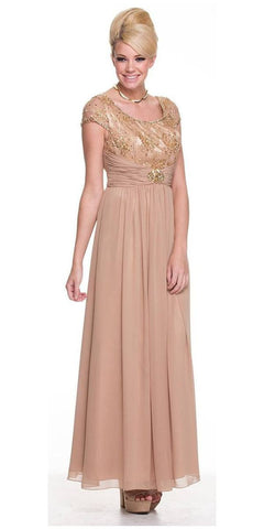 Mother of Bride Long Chiffon Taupe Dress Lace Top Round Neck