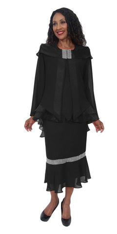 Hosanna 5201 Plus Size 3 Piece Set Black Ankle Length Dress