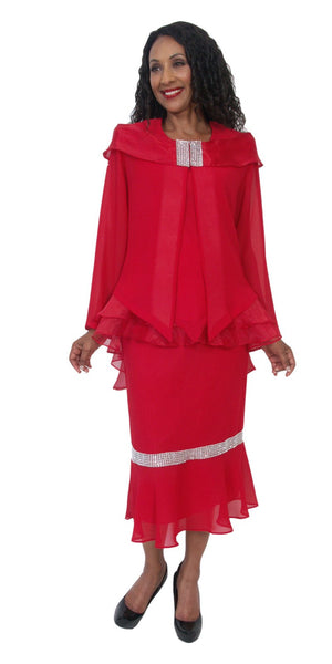 Hosanna 5201 Plus Size 3 Piece Set Red Ankle Length Dress
