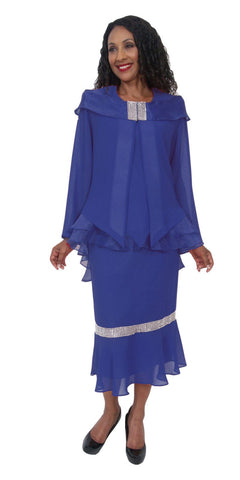 Hosanna 5201 Plus Size 3 Piece Set Royal Blue Ankle Length Dress