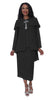 Hosanna 5202 Plus Size 4 Piece Set Church Choir Black Tea Length Dress