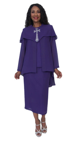 Hosanna 5202 Plus Size 4 Piece Set Church Choir Purple Tea Length Dress