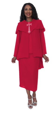 Hosanna 5202 Plus Size 4 Piece Set Church Choir Red Tea Length Dress