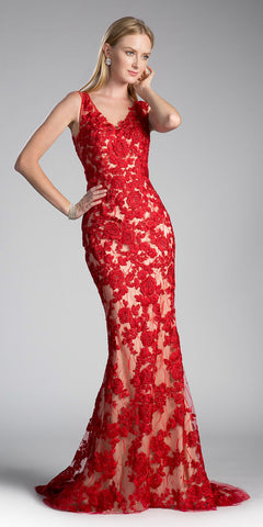 Red Appliqued Mermaid Prom Gown Cut Out Back