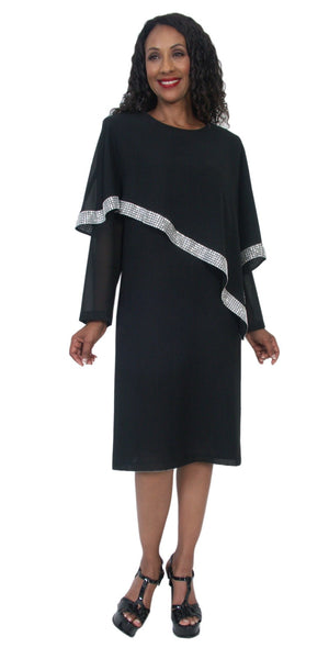 Hosanna 5203 Plus Size Black Knee Length Dress