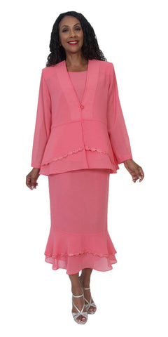 Hosanna 5204 Plus Size 3 Piece Set Coral Tea Length Dress
