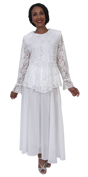 Hosanna 5205 Plus Size 3 Piece Set White Tea Length Dress