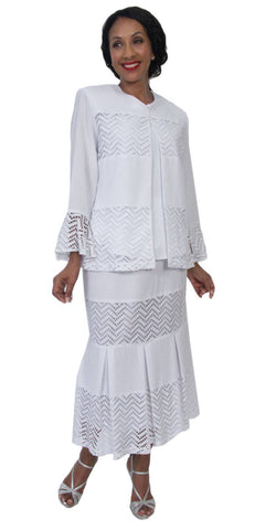 Hosanna 5206 - Tea Length Plus Size White Dress 3 Piece Set