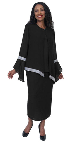 Hosanna 5208 Plus Size 3 Piece Set Black Tea Length Dress