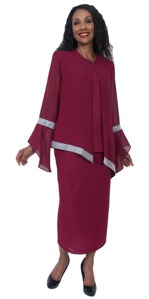 Hosanna 5208 Plus Size 3 Piece Set Burgundy Tea Length Dress
