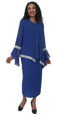 Hosanna 5208 Plus Size 3 Piece Set Royal Blue Tea Length Dress