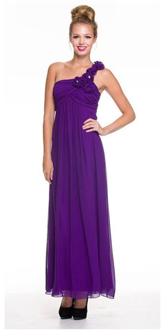 One Strap Chiffon Purple Bridedsmaid Dress Flowy Empire Waist