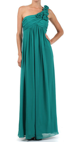 One Strap Chiffon Teal Green Bridedsmaid Dress Flowy Empire Waist