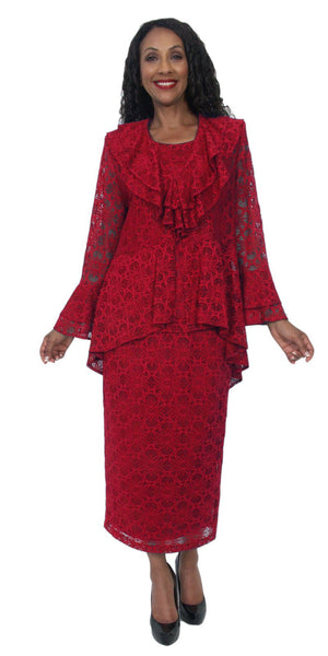 Hosanna 5210 Plus Size 3 Piece Set Red Tea Length Lace Dress