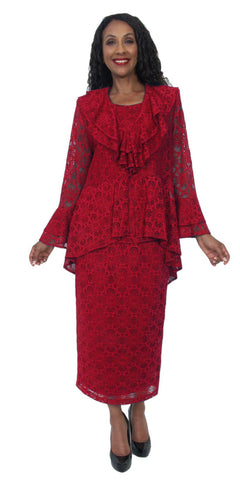 Mid Sleeves Embroidered V-Neck Floor Length Formal Dress Burgundy