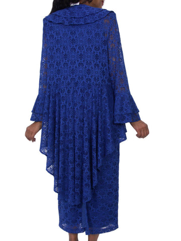 Hosanna 5210 Plus Size 3 Piece Set Royal Blue Tea Length Lace Dress