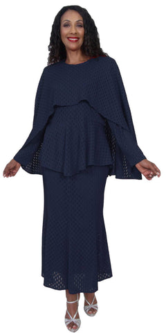 Hosanna 5215 Plus Size 3 Piece Set Navy Blue Tea Length Dress