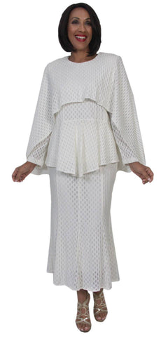 Hosanna 5215 Plus Size 3 Piece Set Off White Tea Length Dress