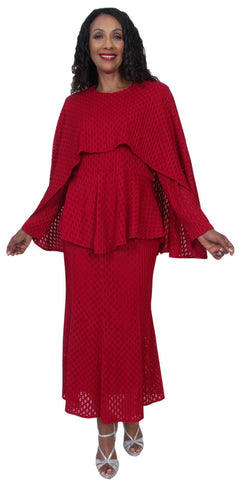 Hosanna 5215 Plus Size 3 Piece Set Red Tea Length Dress