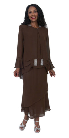 Hosanna 5217 Plus Size 3 Piece Set Brown Tea Length Dress