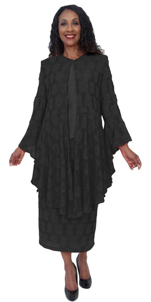 Hosanna 5219 Plus Size 3 Piece Set Black Lace Tea Length Dress