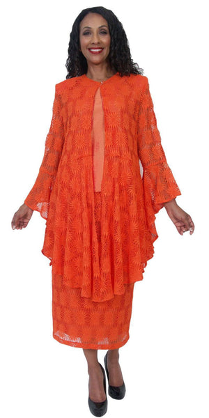 Hosanna 5219 Plus Size 3 Piece Set Orange Lace Tea Length Dress
