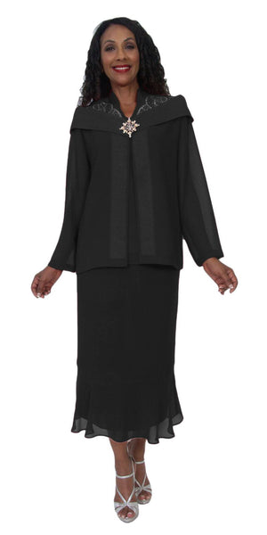 Hosanna 5220 Plus Size 3 Piece Set Black Tea Length Dress