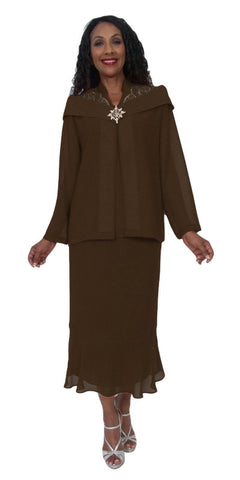 Hosanna 5220 Plus Size 3 Piece Set Brown Tea Length Dress