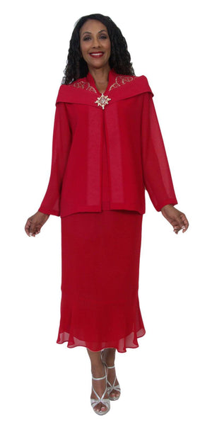 Hosanna 5220 Plus Size 3 Piece Set Red Tea Length Dress