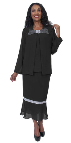 Hosanna 5221 Plus Size 3 Piece Set Black Tea Length Dress