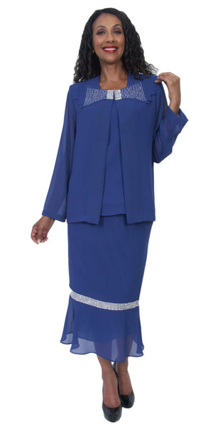 Hosanna 5221 Plus Size 3 Piece Set Royal Blue Tea Length Dress