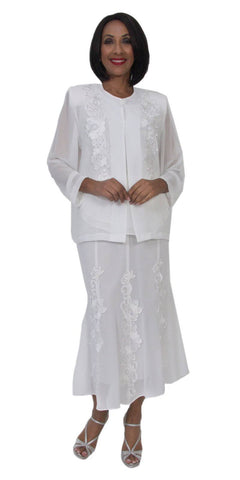 Hosanna 5188 Plus Size 3 Piece Set White Tea Length Dress