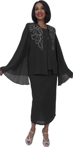 Hosanna 5230 Plus Size 3 Piece Set Black Ankle Length Dress