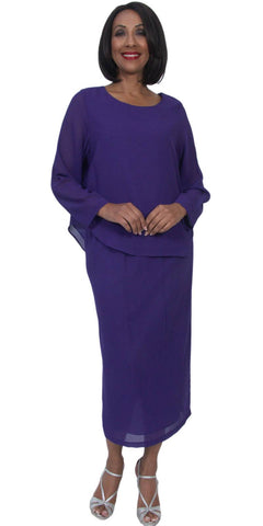 Hosanna 5230 Plus Size 3 Piece Set Purple Ankle Length Dress