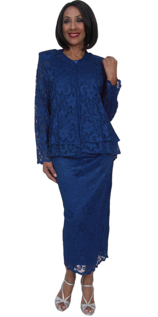 Hosanna 5231 Plus Size 3 Piece Set Navy Blue Lace Tea Length Dress