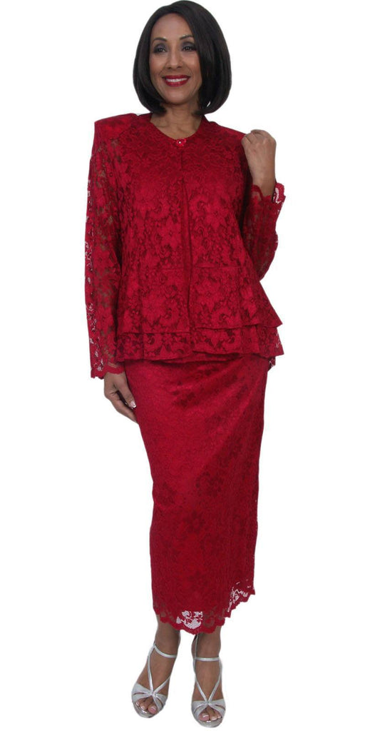 Hosanna 5231 Plus Size 3 Piece Set Red Lace Tea Length Dress