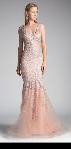 V-Neck Long Formal Dress Embellished Waist Blush