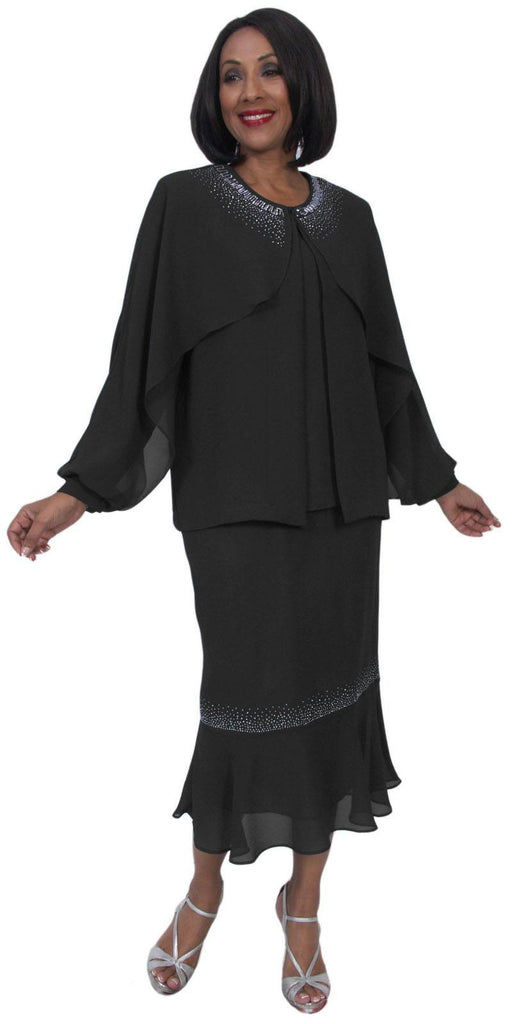 Hosanna 5235 Plus Size 3 Piece Set Black Ankle Length Dress