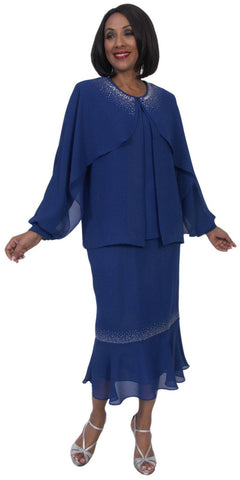 Hosanna 5235 Plus Size 3 Piece Set Royal Blue Ankle Length Dress