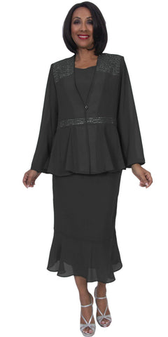 Hosanna 5217 Plus Size 3 Piece Set Black Tea Length Dress