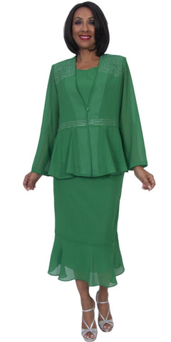Hosanna 5238 Plus Size 3 Piece Set Kelly Green Ankle Length Dress