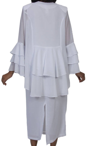 Hosanna 523 Plus Size 3 Piece Set White Ankle Length Dress