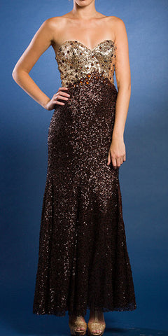 Gold/Brown Sequins Formal Evening Gown Long Strapless Sweetheart