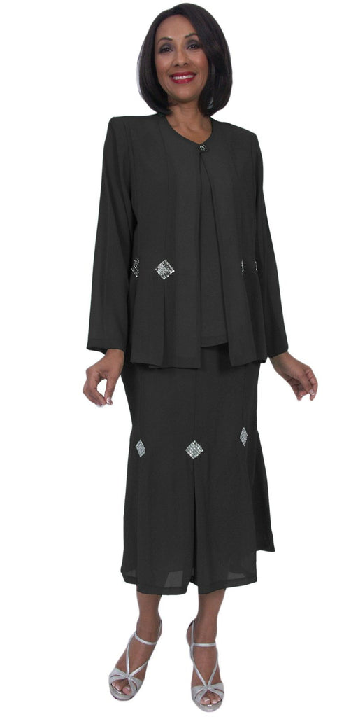 Hosanna 5241 Plus Size 3 Piece Set Black Ankle Length Dress
