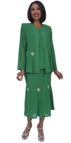 Hosanna 5241 Plus Size 3 Piece Set Kelly Green Ankle Length Dress