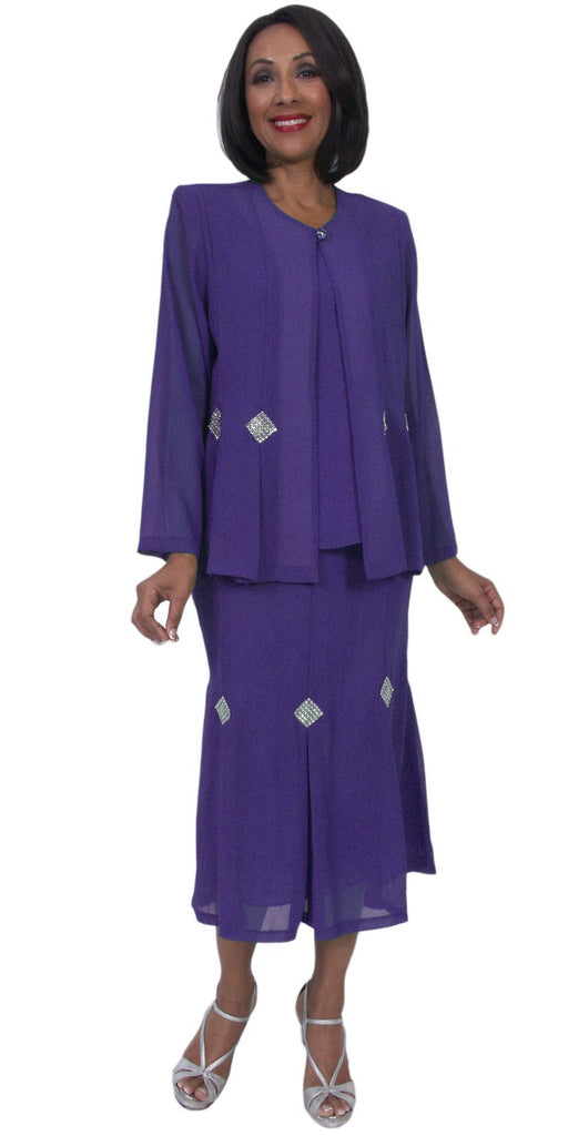 Hosanna 5241 Plus Size 3 Piece Set Purple Ankle Length Dress