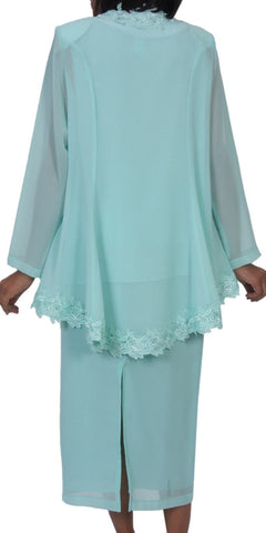 Hosanna 5244 Plus Size 3 Piece Set Mint Tea Length Dress Lace Trim