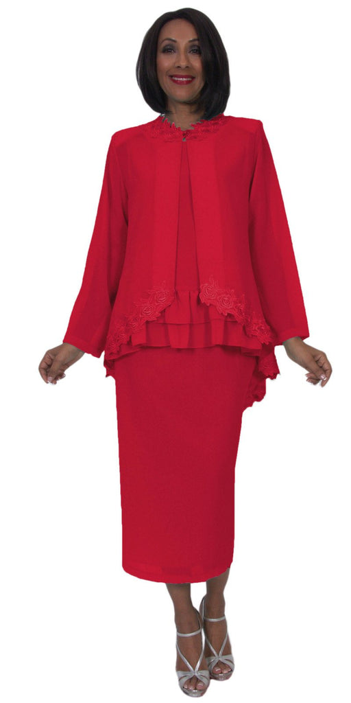 Hosanna 5244 Plus Size 3 Piece Set Red Tea Length Dress Lace Trim