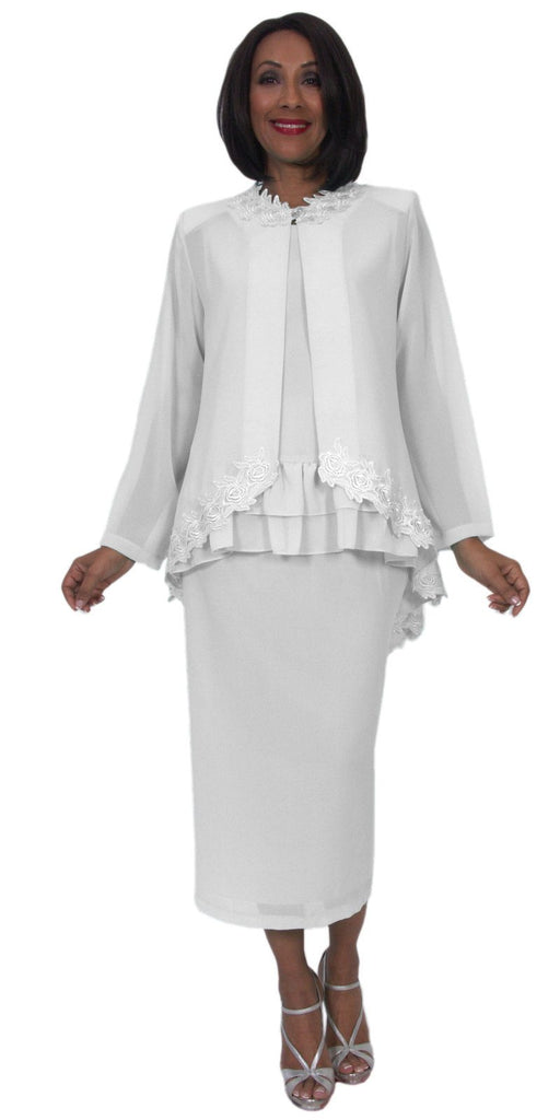 Hosanna 5244 Plus Size 3 Piece Set White Tea Length Dress Lace Trim