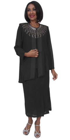 Hosanna 5245 Plus Size 3 Piece Black Tea Length Dress